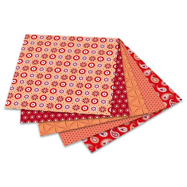 Faltblätter Basics 80g/m² 15x15cm 50 Bl. rot 5 Designs, Rückseite uni