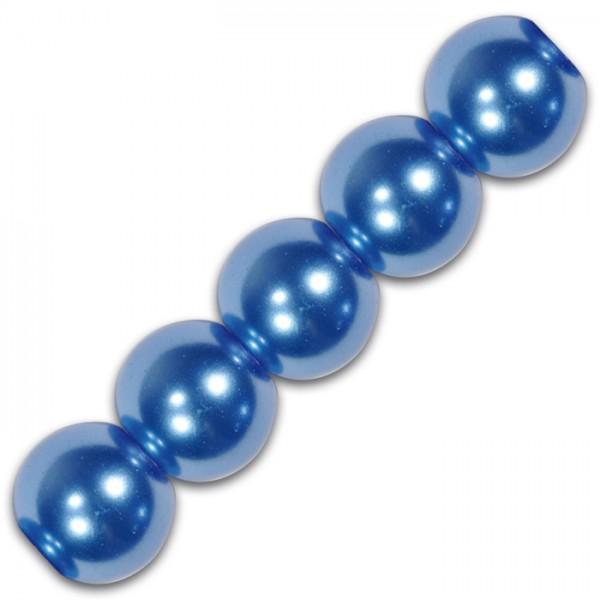 Glaswachsperlen 6mm 55 St. blau Lochgr. ca. 0,5mm