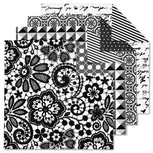 Faltblätter Origami-Papier 15x15cm 50 Bl. schwarz/weiß 80g/m², 4 Designs