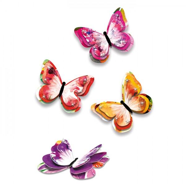 3D-Deko-Schmetterlinge Papier 24 St. Summer Orang-Rot-Lila-Töne, je 8,5x7cm, 3-lagig
