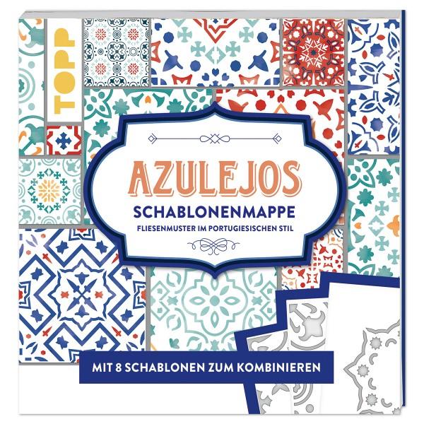Buch - Azulejos Schablonenmappe mit 8 Schablonen 20 Muster, 16 Seiten,22,7x22,7cm, Softvover