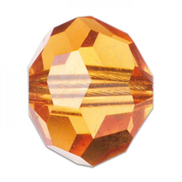 Facettenschliffperlen 4mm 35 St. topaz transparent, feuerpoliert, Glas, Lochgr. ca. 0,9mm