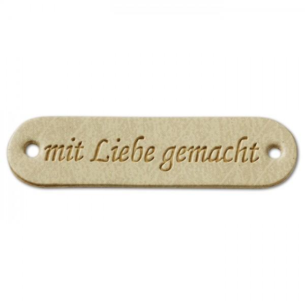 Labels ca. 45x12mm mit Liebe gemacht 4 St. beige Kunstleder