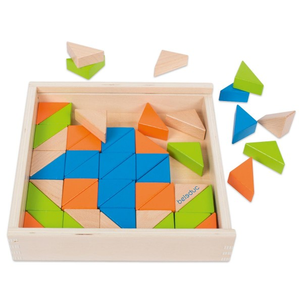 Triangle Blox 203x203x43mm mit 50 Holzdreiecken inkl. 10 Aufgabenkarten
