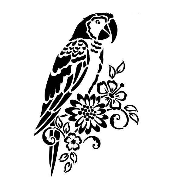 Universal-Schablone DIN A4 Papagei & Blumen Kunststoff