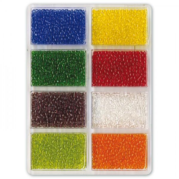Rocailles transparent 2,5mm 60g 8 Farben Glas, Lochgr. ca. 0,9mm