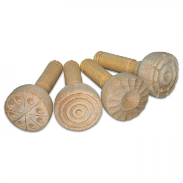 Knetstempel 4er-Set Ø 5,5cm 11cm lang Holz
