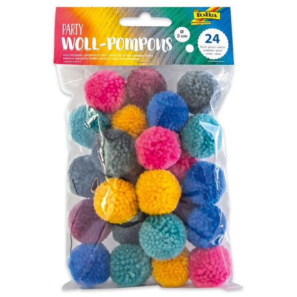 Woll-Pompons Party Ø 3cm 24 St./6 Farben 100% Polyester