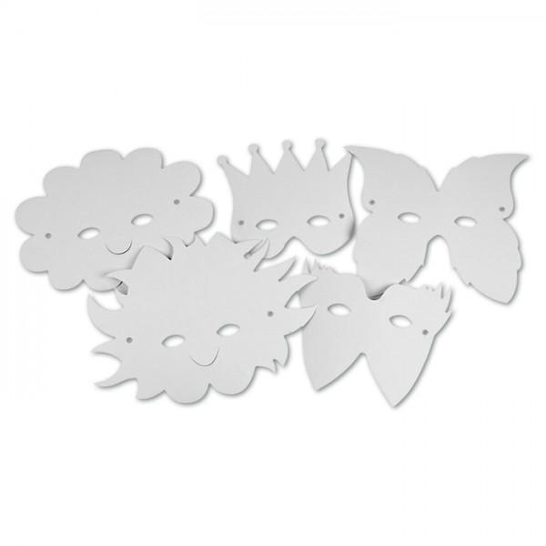Papiermasken Karton 15-20cm hoch 5 St. weiß 5 Designs, inkl. Gummiband