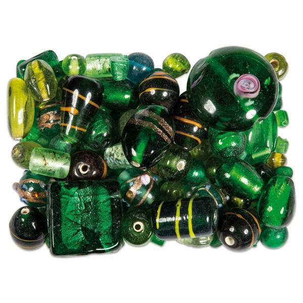 Glasperlen-Mix ca. 4-28mm 130g grün ton Lochgr. ca. 0,7-2mm