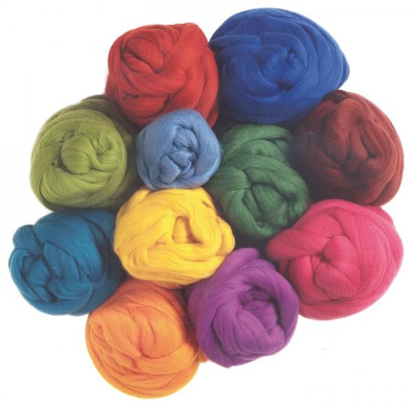 Kammzugwolle-Sortiment Merino 1.000g bunt 100% Wolle vom australischen Merinoschaf, max. 19mic