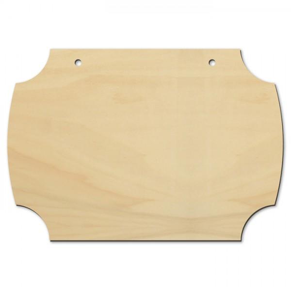 Türschild mit Innenecken Holz 19,5x13,5cm natur 4mm, 2 Bohrungen