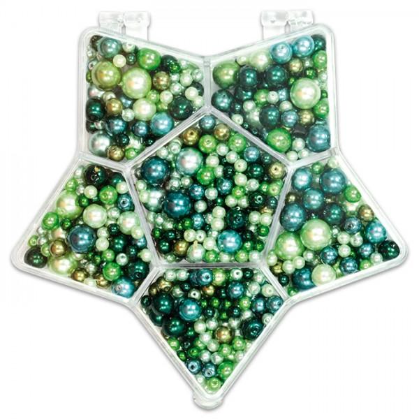 Glaswachsperlenbox Stern 3-14mm 150g grün-ton Kunststoff, Lochgr. ca. 0,5-1mm