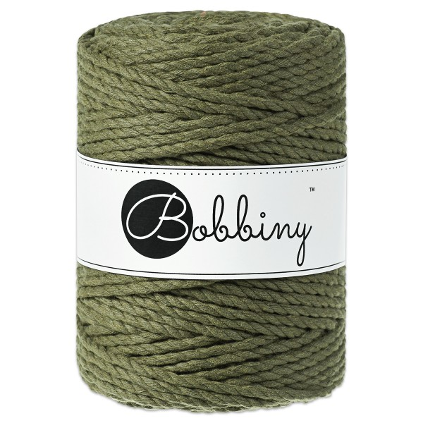 Bobbiny 3PLY Makramee-Kordel Ø5mm avocado ca. 700g-800g, 100% Baumwolle, LL 100m, 3x60 Fasern