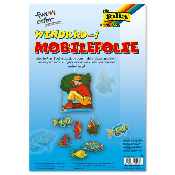 Mobilefolie 0,4mm 35x50cm 5 Bl. transparent Lampenfolie/Windradfolie, Kunststoff mit Hafteffekt