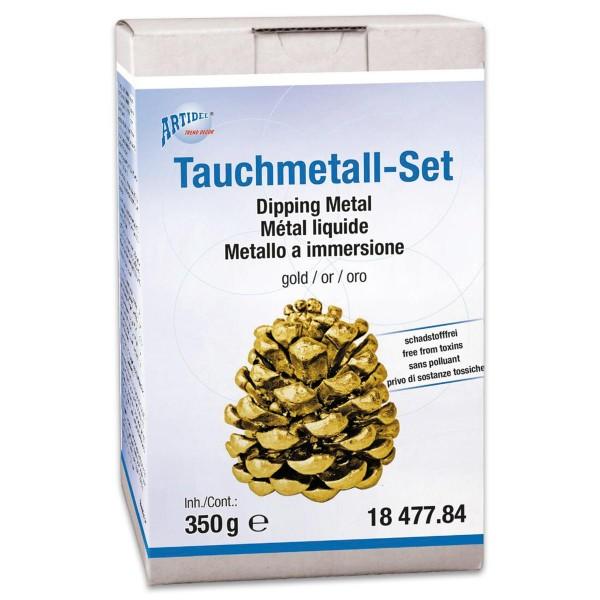 Tauchmetall-Set 350g goldfarben inkl. Haftmedium, Tauchmetall, Handschuhe
