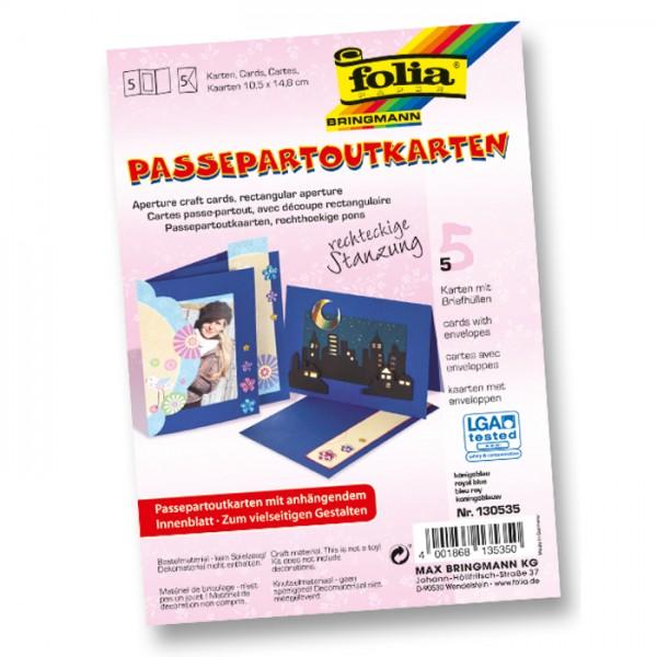 Passepartoutkarten DIN A6 5 St Rechteck königsblau inkl. Kuvert&Einlegeblatt, 220g/m²