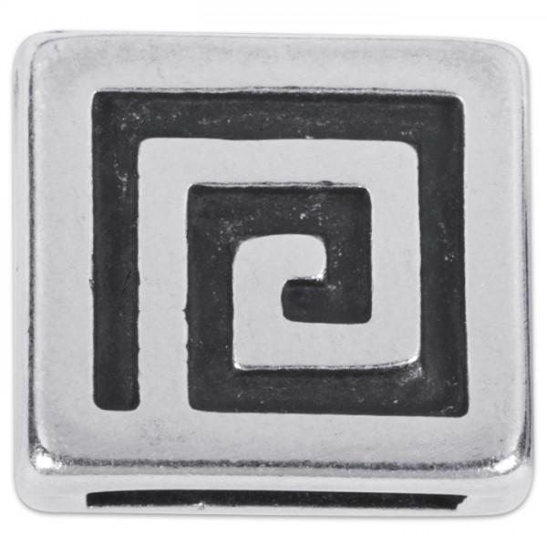 Metallteil Viereck 12mm altplatinfarben mit Steg für Bänder 2,5x10mm
