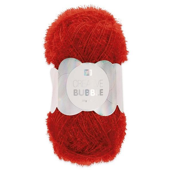 Creative Bubble Wolle 50g ca. 90m rot Nadel Stricken Nr. 2, Häkeln Nr. 4, 100% Polyester
