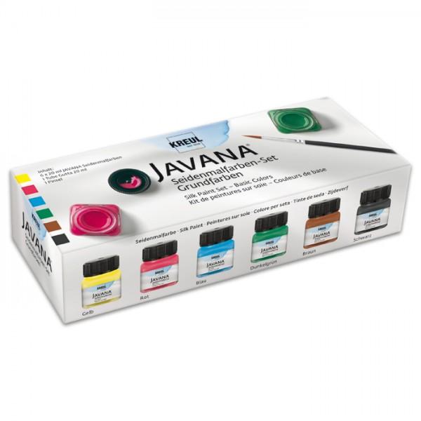 JAVANA Seidenmal-Set Grundfarben 6x20ml Pinsel, Gutta, gelb/rot/blau/grün/braun/schwarz