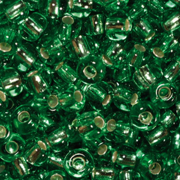 Rocailles transparent 2,6mm 17g hellgrün Silbereinzug, Glas, Lochgr. ca. 0,9mm