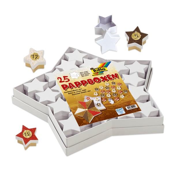 Geschenkboxen Karton 25-teilig Sterne weiß 1 Stern ca. 37x37x4,5cm, 24 Sterne ca. 6x6x4cm