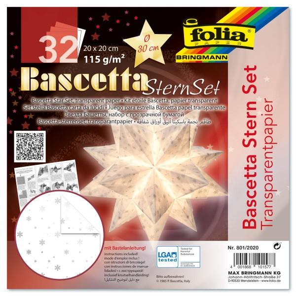Bascetta-Stern ca. Ø 30cm 32 Bl. weiß/silberne Schneeflocken 20x20cm, Transparentpapier, 115g/m²