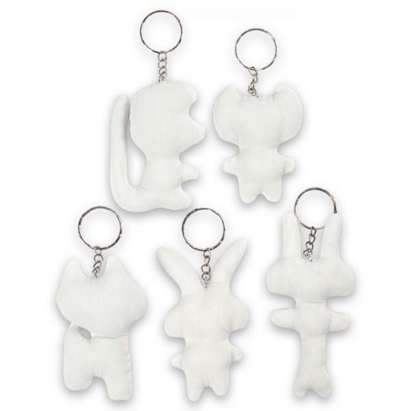 Stofftiere mit Schlüsselring ca. 6-10cm 5 St. weiß 100% Baumwolle, Füllung: 100% Polyester, Metall,