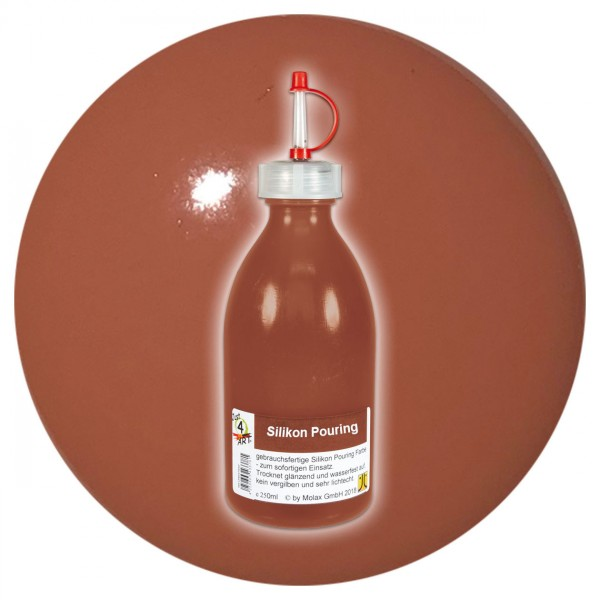 Just4Art Silikon Pouring Farbe 250ml sienna natur mit Spritzdüse