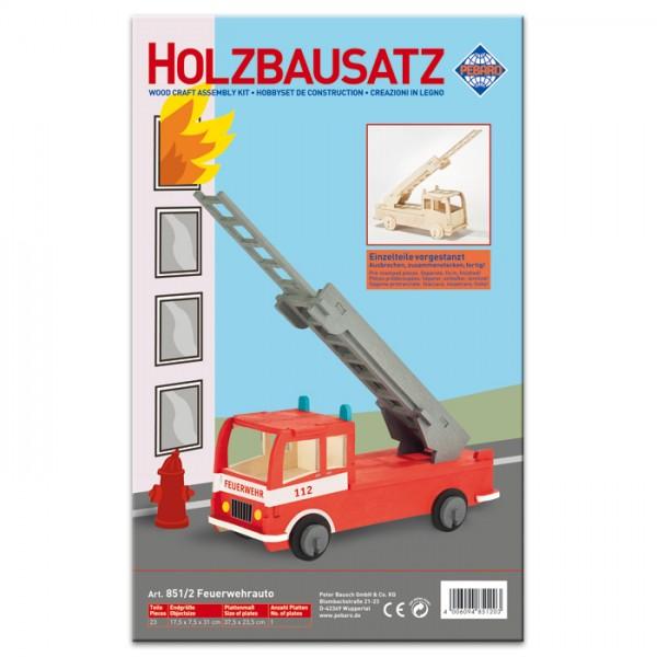 Holzbausatz Feuerwehrauto 17,5x7,5x31cm 23 Teile vorgestanzt, zum Zusammenstecken