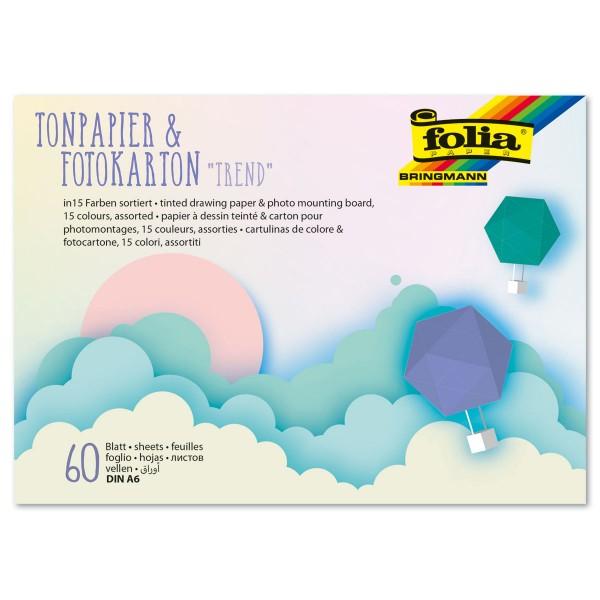 Tonpapier-/Fotokarton-Block Trend DIN A6 60 Bl./15 Farben 130g/m² & 300g/m²