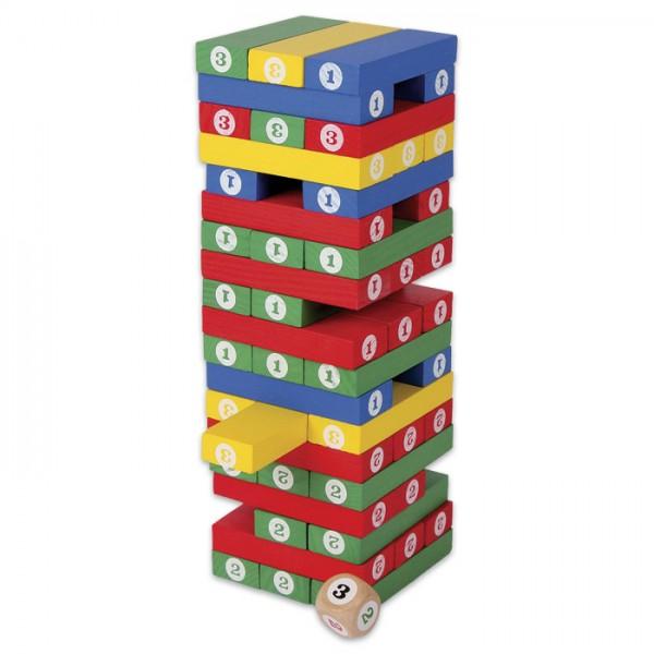 Spiel - Zahlenturm Holz ca. 7,5x7,5x24cm bunt inkl. Würfel 1-3, ab 4 Jahren
