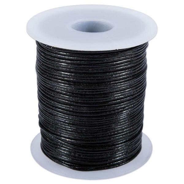 Lederriemchen rund 0,5mm 50m schwarz