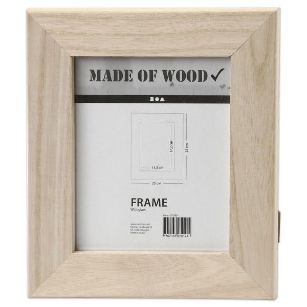 Bilderrahmen Holz/Plexiglas 22x25cm natur breiter Rand, Ausschnitt 143x172mm