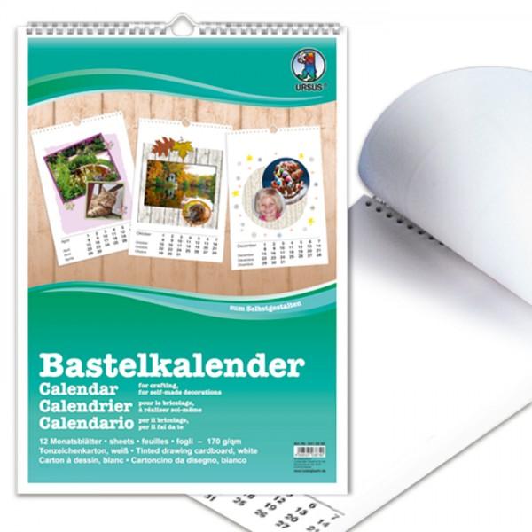 Bastelkalender DIN A4 weiß 12 Monatsblätter, 1 Blanko-Blatt, 170g/m²