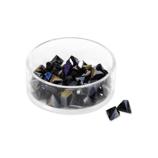 Glasschliffperlen 6mm 18 St. schwarz AB Pyramidenform, Lochgr. ca. 1mm