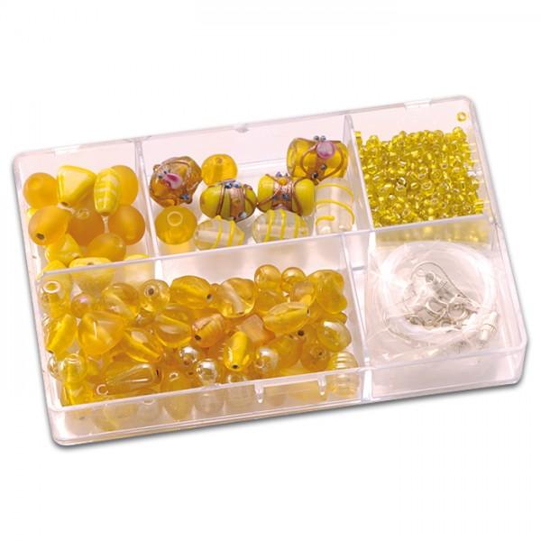 Schmuckbox Glasperlen & Zubehör ca. 80g gelb 3-16mm, Lochgr. ca. 1-1,5mm