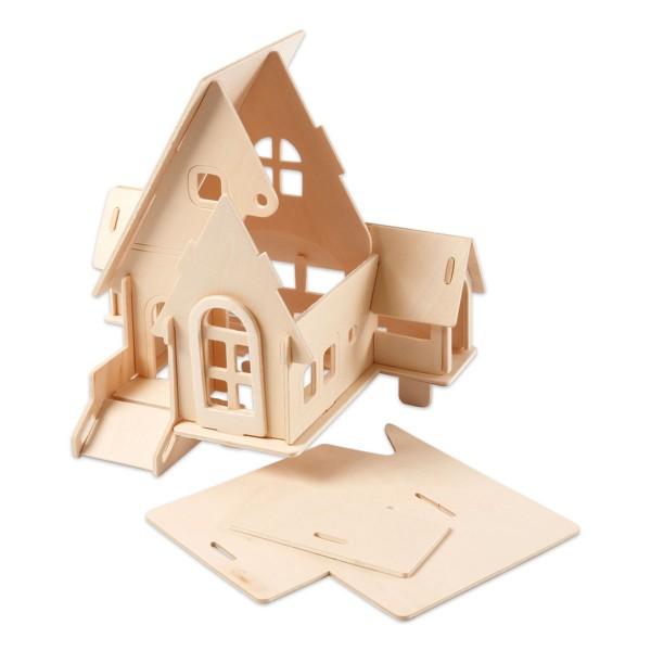 Holzbausatz Haus mit Garage 20 Teile ca. 22,5x17,5x20,5cm, vorgestanzt, zum Zusammenstecken