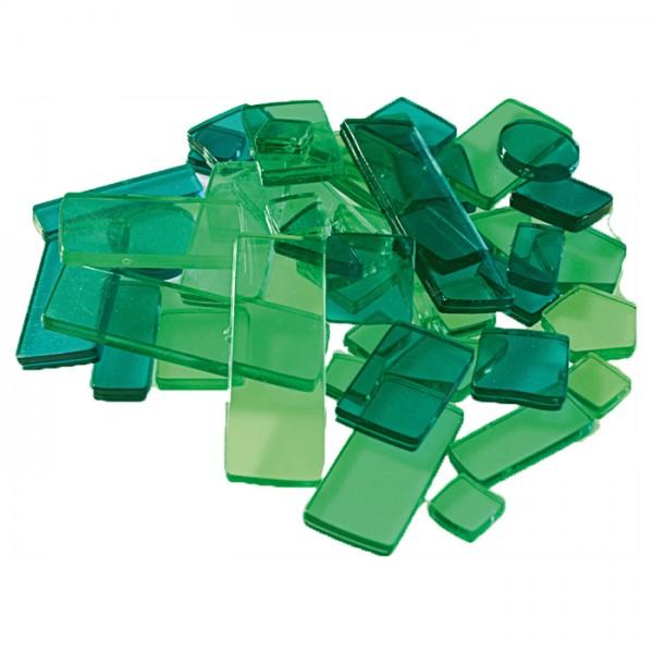 Acryl-Mosaik Lucy Formen-Mix 100g grün-mix transparent, ca. 2mm, ca. 440 Stück