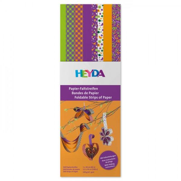 Faltstreifen Papier 8 Designs à 20 St violett/grün 3x1cm/5x1,5cm breit, 30cm lang, 130g/m²