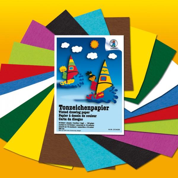 Tonpapier-Block 130g/m² DIN A4 20 Bl./10 Farben