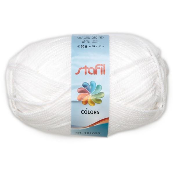 Wolle Colors 50g weiß LL ca.133m, Nadel Nr. 3, 100% Polyacryl