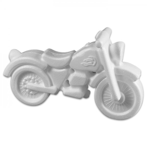Styropor-Motorrad weiß 17x10cm