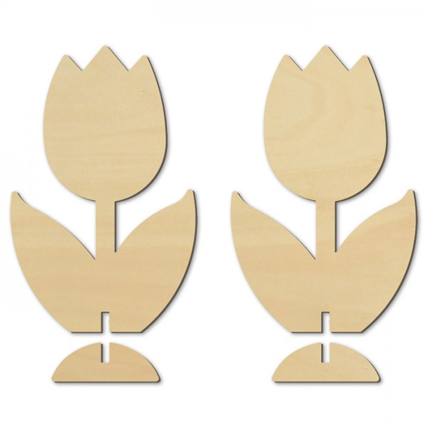 Stehfiguren Tulpen 4mm ca. 15,5cm hoch 2 St. Holz natur