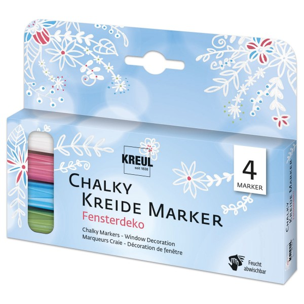KREUL Chalky Kreide Marker-Set 4 St./Farben Fensterdeko Strichstärke 2-3mm