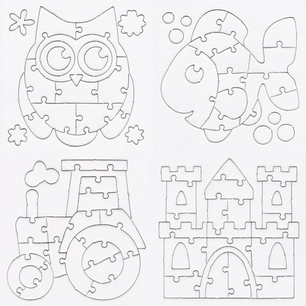 Mini-Puzzles zum Ausmalen 14x14,5cm 4 St. weiß Fisch/Traktor/Burg/Eule, Karton
