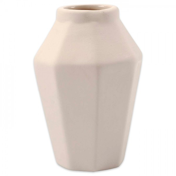 Vase achteckig Terrakotta ca. Ø7x10cm weiß innen glasiert, Öffnung ca. 25mm