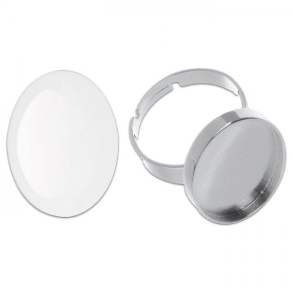 Ring + Cabochon 27x19mm oval silberfarben Metall, Glas, Ring größenverstellbar