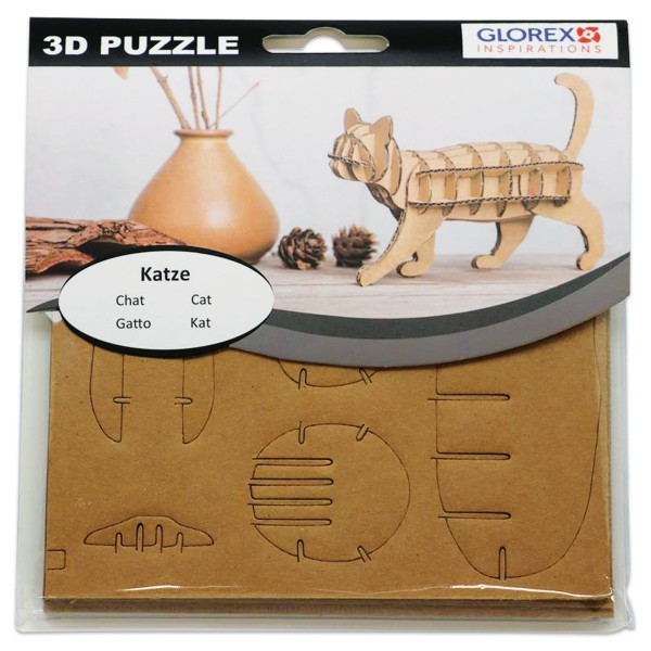 3D-Puzzle Pappe Katze natur ca. 17x16,6x1cm
