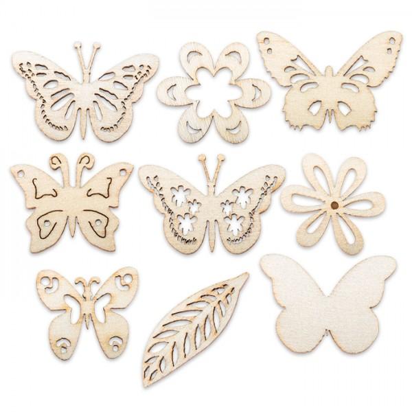 Holzornamente Sommer ca. 2,8cm 9 Motive 45 St. Schmetterlinge, Blumen, Blatt, natur
